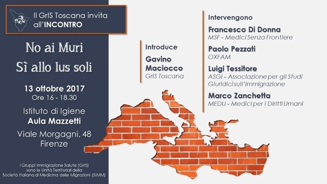 No ai muri. Sì allo Ius Soli @ Istituto di Igiene - Aula Mazzetti   Firenze   Toscana   Italia