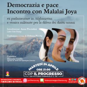 Democrazia e pace - Incontro con Malalai Joya @ Casa del Popolo Il Progresso   Firenze   Toscana   Italia