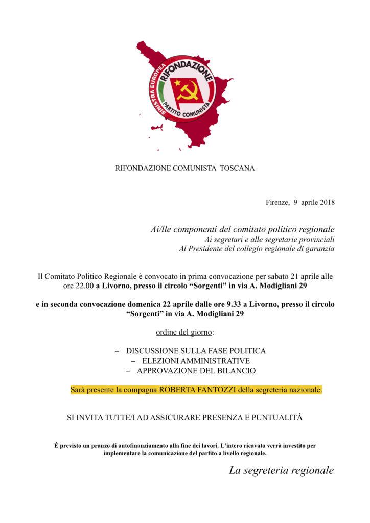 Comitato Politico Regionale aprile @ Circolo Sorgenti - Livorno   Livorno   Toscana   Italia