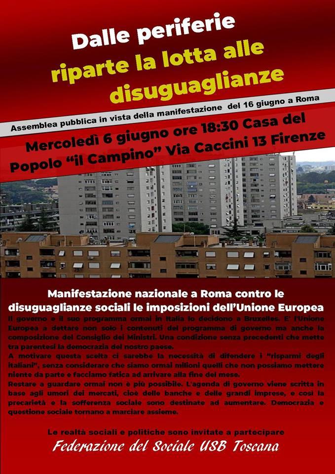 Assemblea pubblica verso il 16 giugno (USB) @ Casa del Popolo Il Campino | Firenze | Toscana | Italia