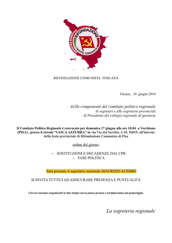 Comitato Politico Regionale, giugno @ Circolo Vasca Azzurra | Vecchiano | Toscana | Italia