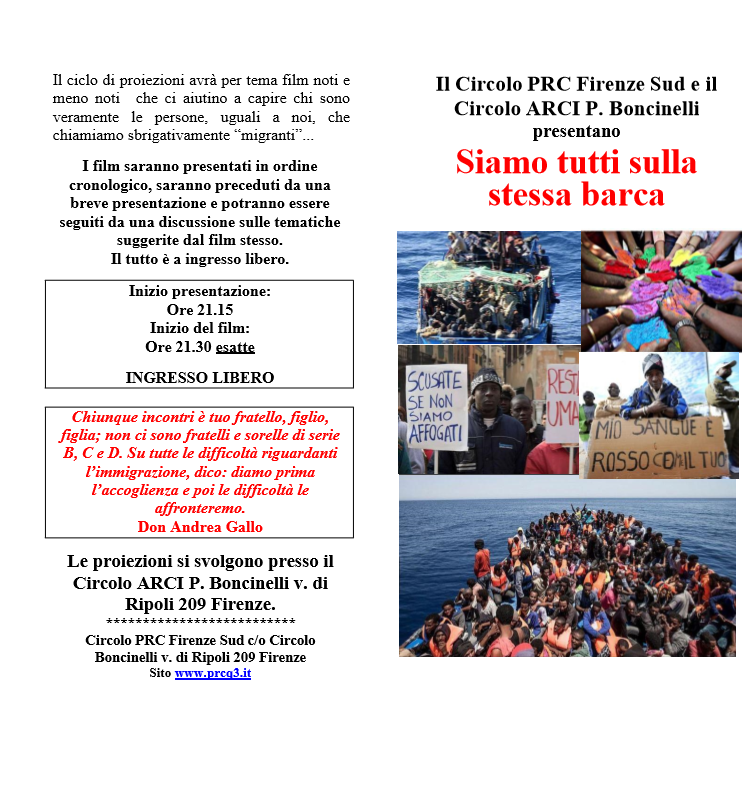 Siamo tutti sulla stessa barca: ciclo film @ Circolo ARCI Boncinelli   Firenze   Toscana   Italia